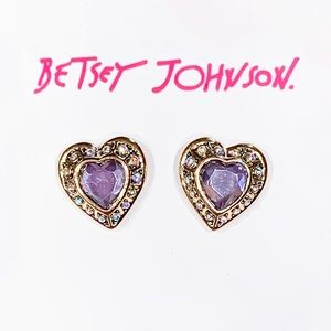 Betsey Johnson Purple Stone Heart Earring Studs